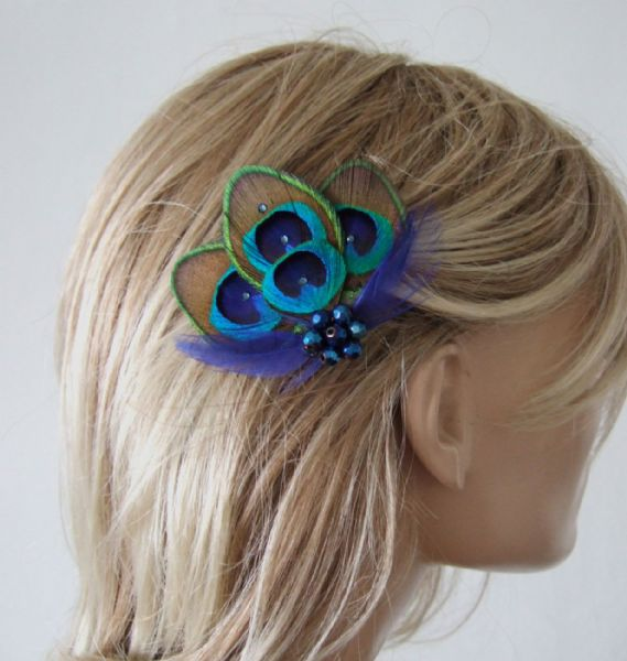 "Bridal Royal Blue Green Peacock Feathers Fascinator Hair Clip Headpiece ""Noa"""
